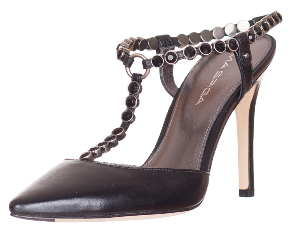 35305a41e39d Via Spiga Malin Women s Black Leather Slides Heels Shoes Size US 7.5