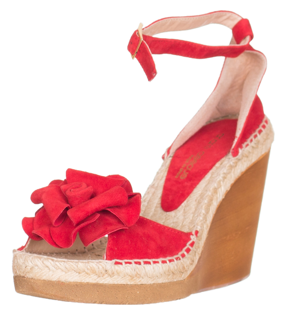 7d69dab5f Andre Assous Women s Red Suede Wedge Espadrille Sandals Shoes