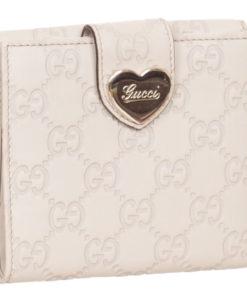 aed24ea37a2 Gucci White Cream GG Guccissima Heart Bi Fold Wallet