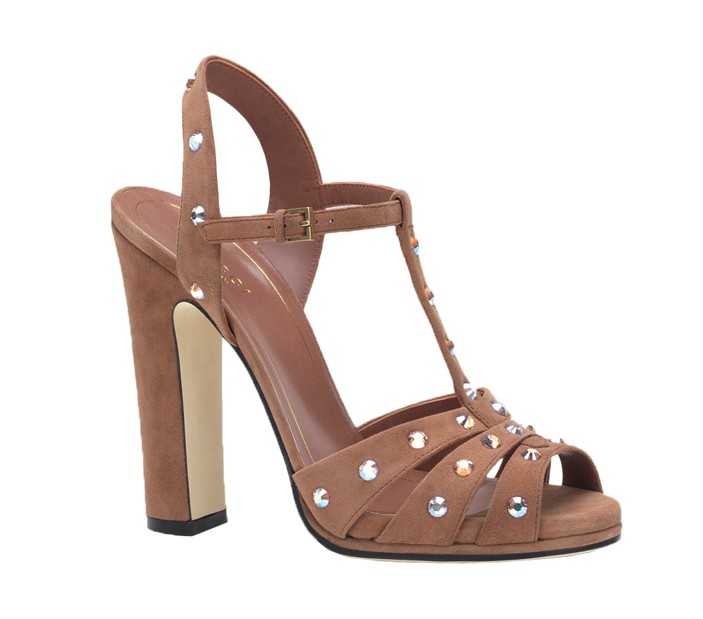 e01a194b974 Gucci Women's Jacquelyne Pink Suede Crystal Studs High Heel Sandal Shoes