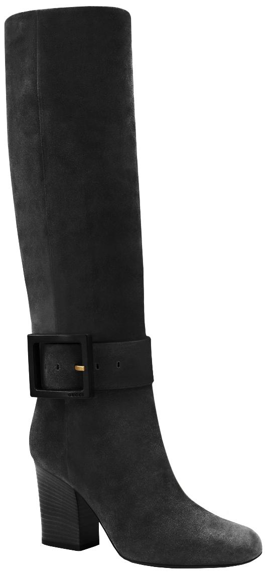 44b74cdb612 Gucci Women s Kesha Black Suede Mid Heel Knee High Boots