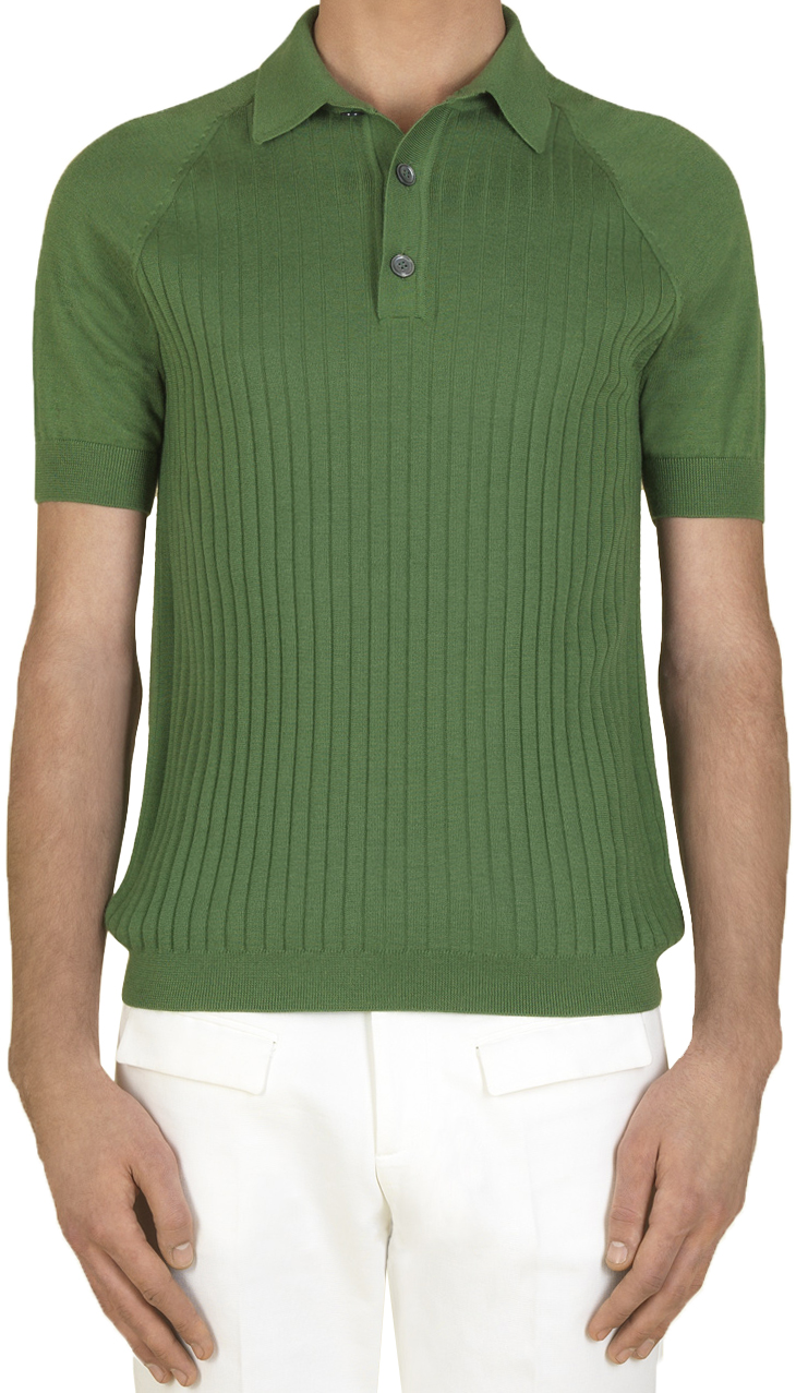 d6b6d6e0249 Gucci Men s Green Cashmere and Silk Rib Polo Shirt L