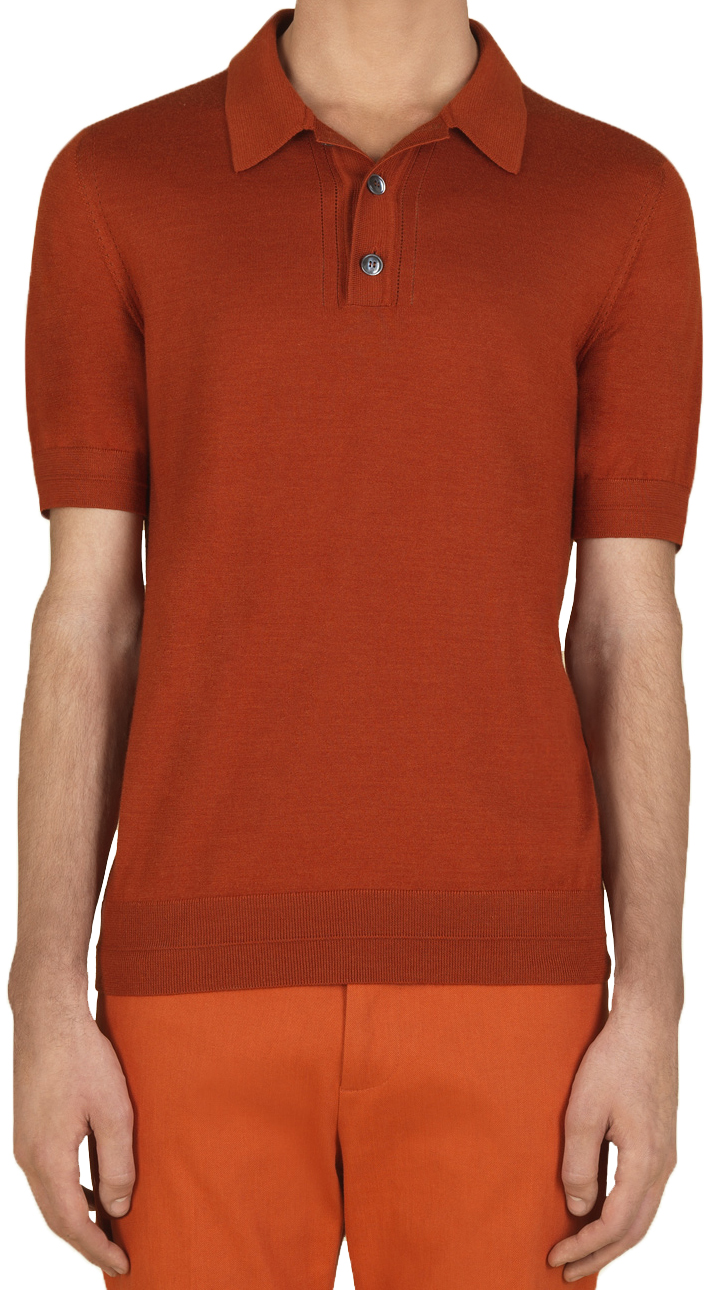 6411b036b7f Gucci Men s Orange Fine Cashmere and Silk Polo Shirt