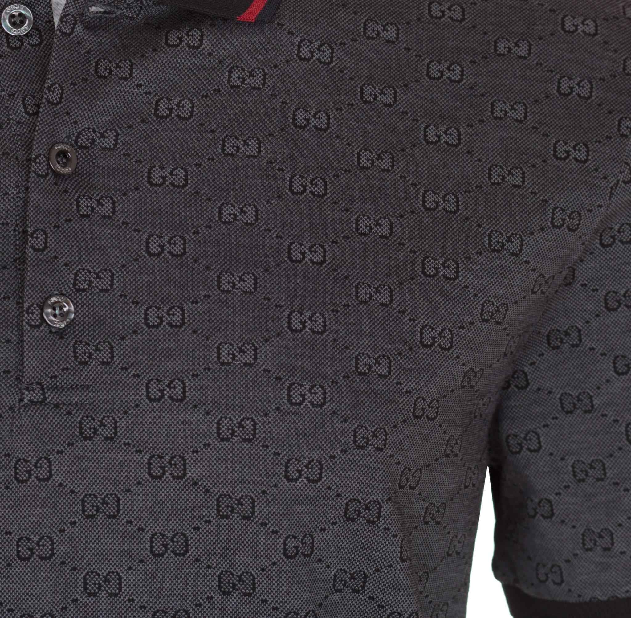 719eb2ade0c Gucci Men s Dark Grey Piqué GG Jacquard Short Sleeve Polo Shirt