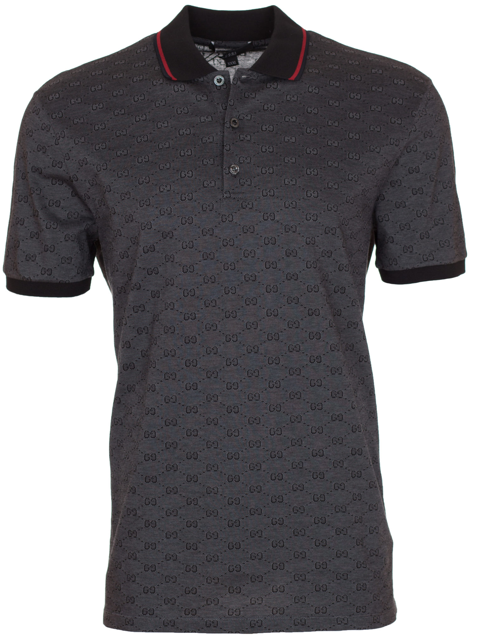 03c5e4e9 Gucci Men's Dark Grey Piqué GG Jacquard Short Sleeve Polo Shirt