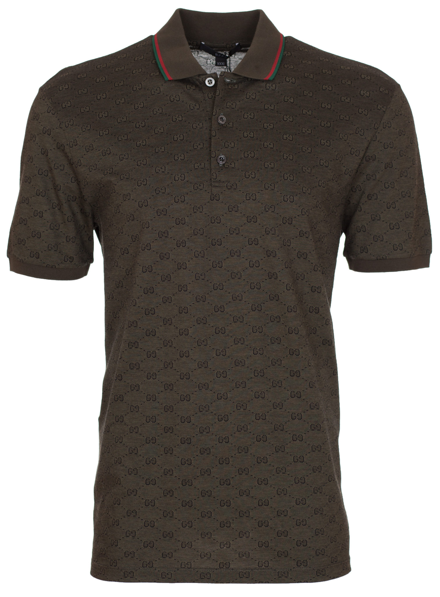 ec38b5537 Gucci Men's Military Green GG Jacquard Cotton Pique Polo Shirt