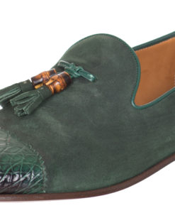 67f06fdbb07 Gucci Men s Green Suede Crocodile Leather Bamboo Tassel Loafers Shoes
