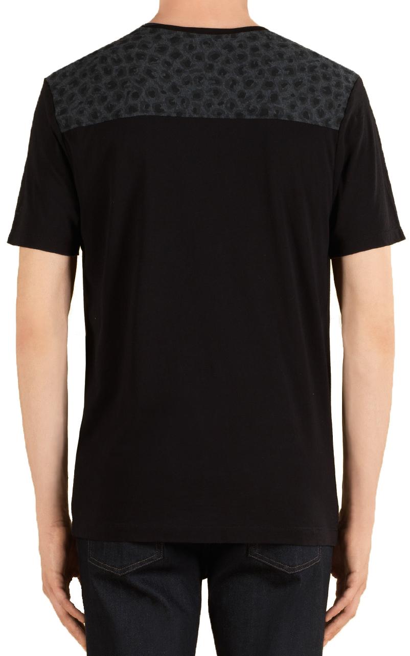 0846deec5 Gucci Men's Black Cotton Jersey Leopard Print T-Shirt