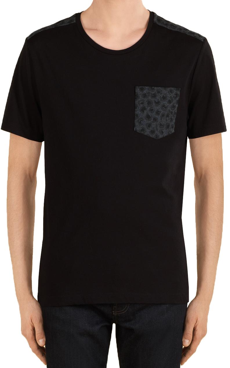 57b519fb4 Gucci Men's Black Cotton Jersey Leopard Print T-Shirt