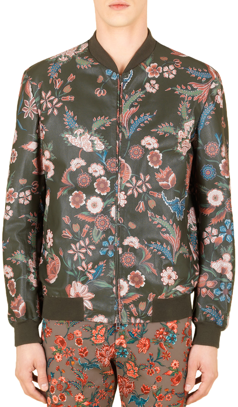 58074ac8ad3 Gucci Men s Perforated Floral Leather Bomber Jacket