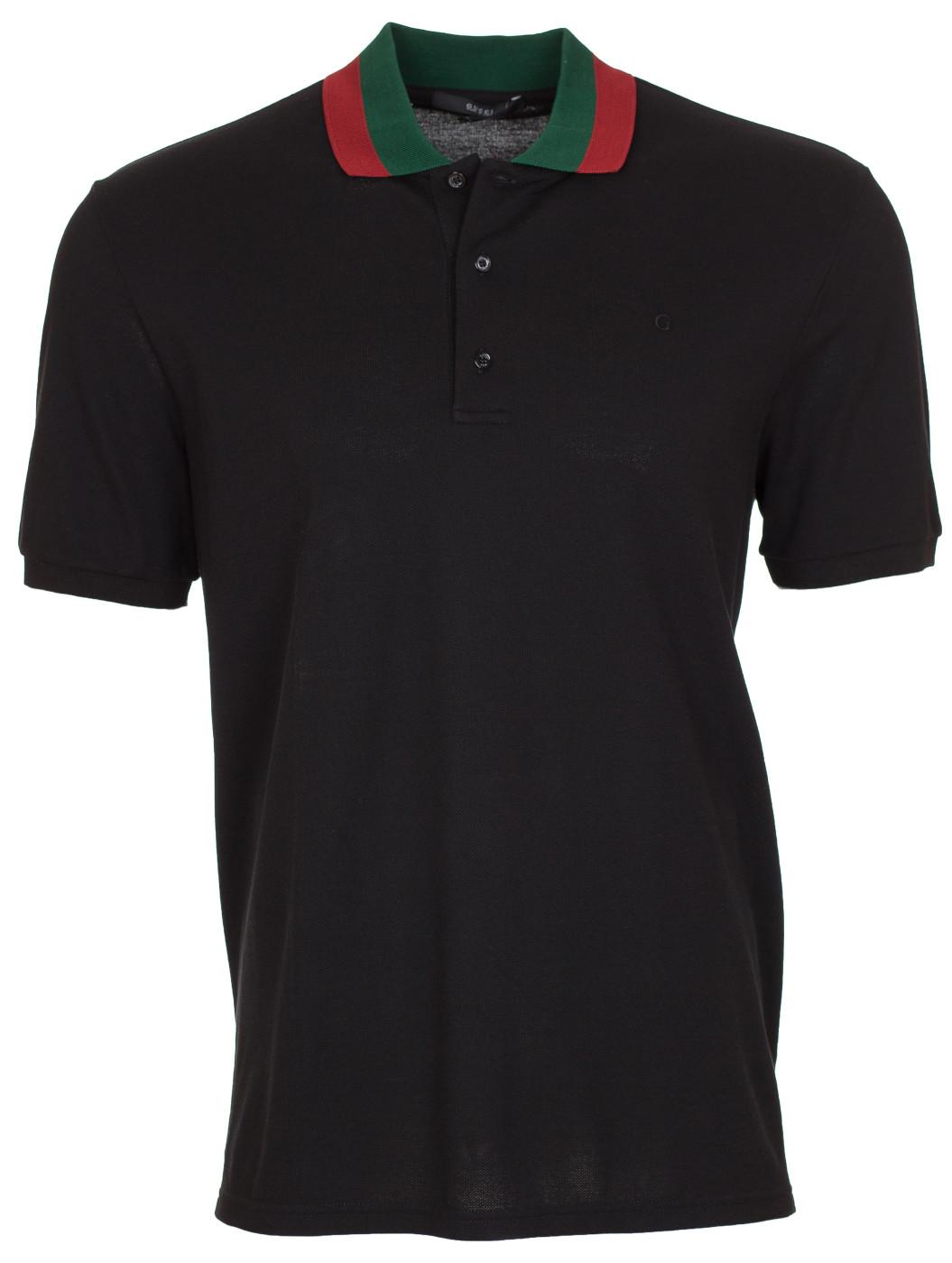 8d12e71b5b6 Gucci Men s Black G Logo Web Collar Pique Polo Shirt