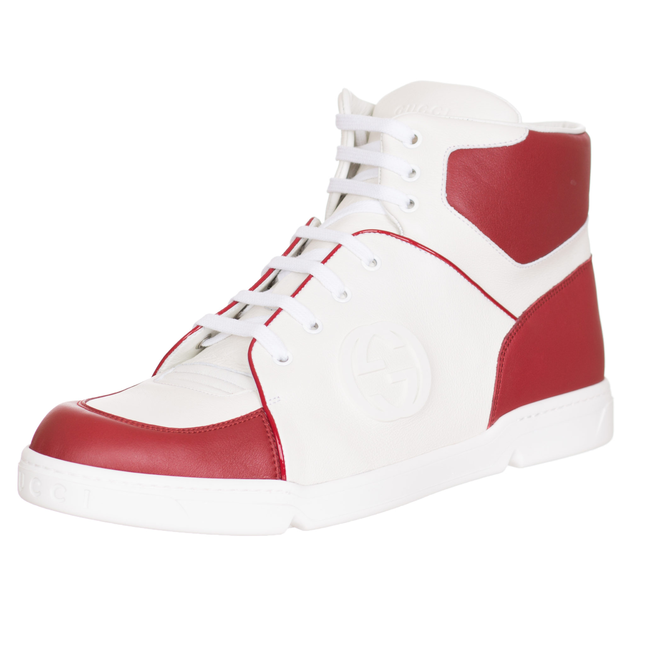 Gucci Men\u0027s Red White Leather High Top GG Sneakers Shoes