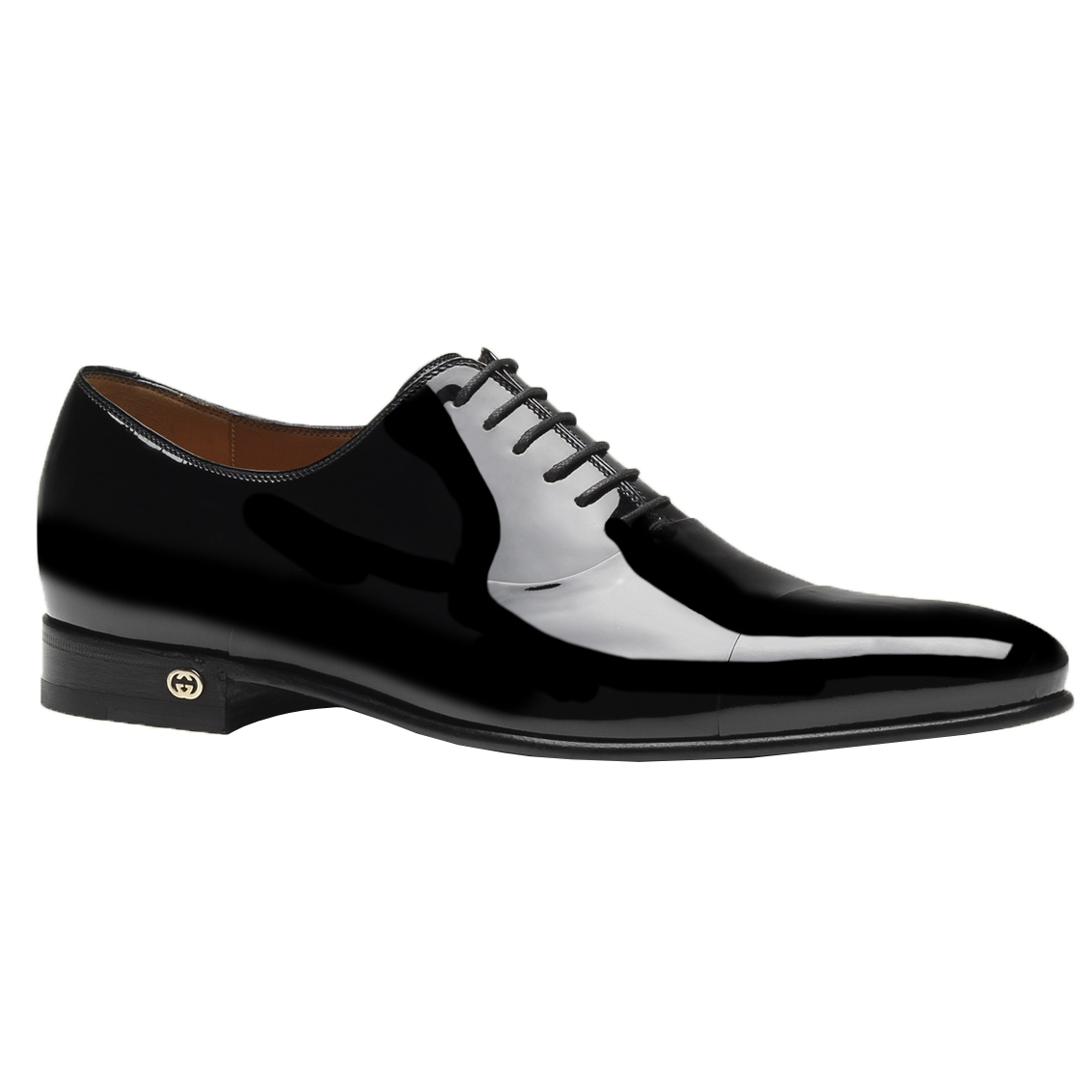 a8835534807 Gucci Men s Black Patent Leather Lace Up Tuxedo Shoes
