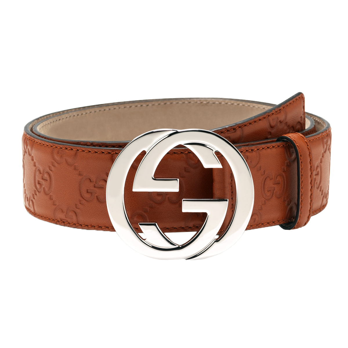 12982040c Gucci Orange Guccissima Leather Interlocking G Buckle Belt 105/42