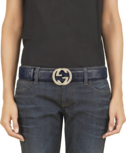 25ad3b2d5ee Gucci Blue Guccissima Leather Interlocking G Buckle Belt 80 32