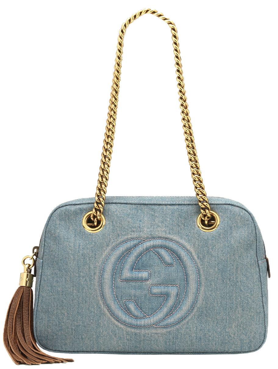 14452b9407f24e Gucci GG Soho Blue Denim Chain Tassel Shoulder Bag