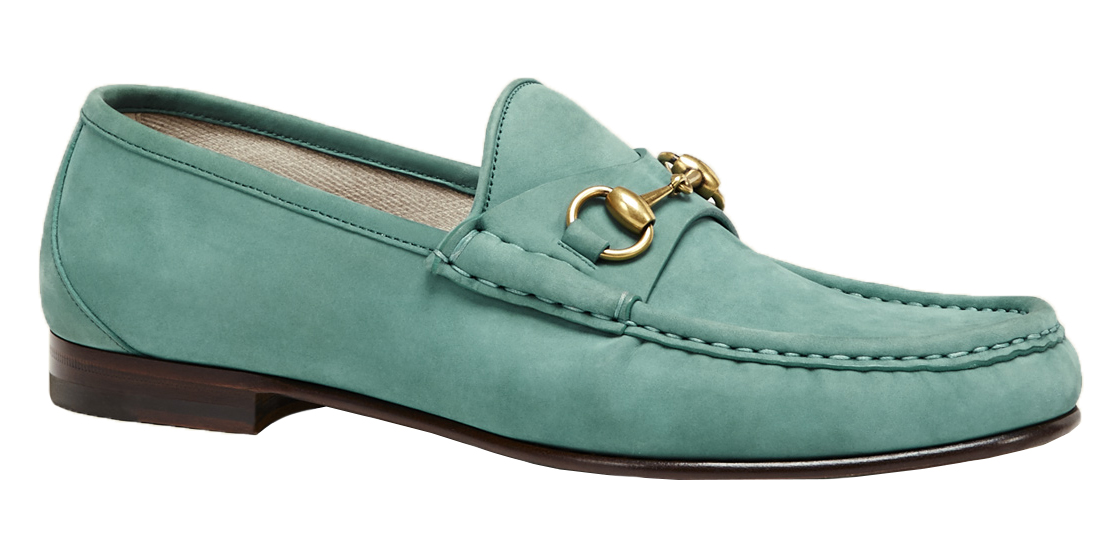 e07f04dbeae Gucci Men s Teal Suede 1953 Horsebit Loafers Shoes