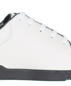 b3acdfc3844 Gucci Men s GG White Black Leather Lace Up Interlocking G Trainer ...