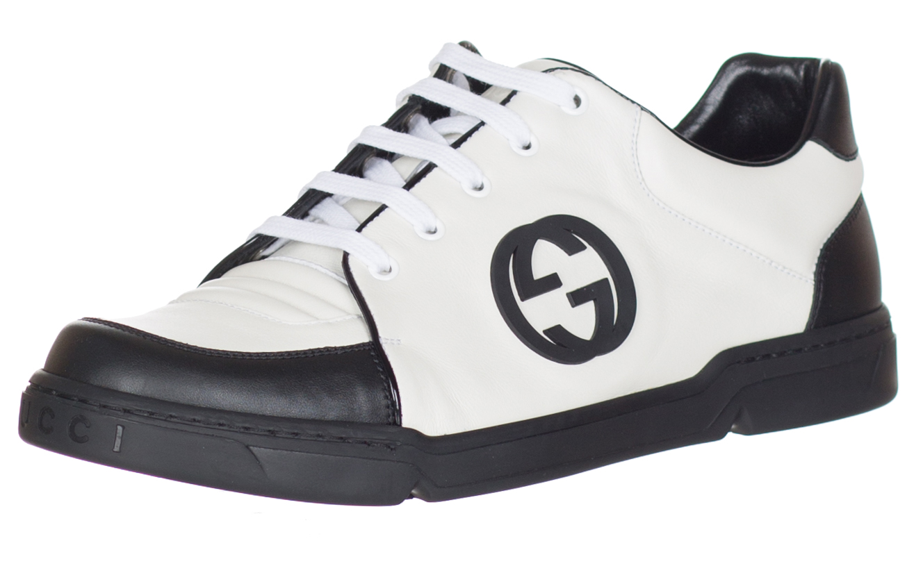 9ab525f331d1 Gucci Men s GG White Black Leather Lace Up Interlocking G Trainer Sneakers  Shoes