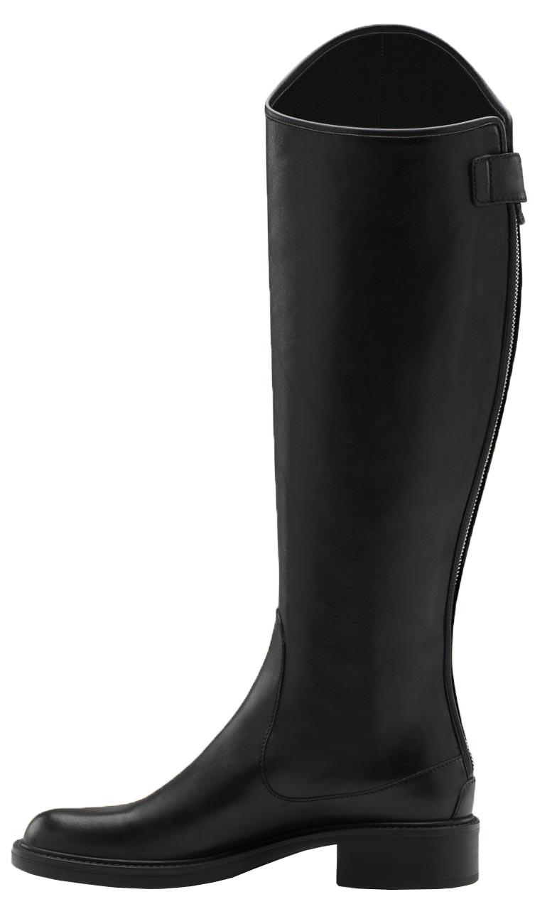ef465442de4 Gucci Women's Maud Black Leather Zip Up Riding Knee Boots