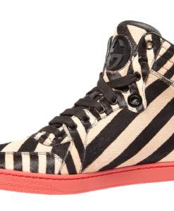 56a9d19d50b2 Gucci Women s GG Beige Coda Stripe Calf Pony Hair Sneakers Shoes