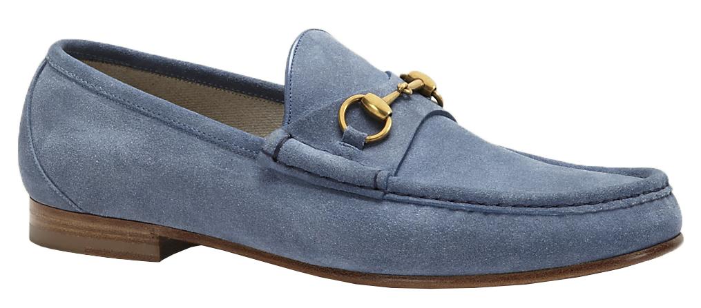 e8f5e46c79d Gucci Men s Sky Blue Suede 1953 Horsebit Loafers Shoes