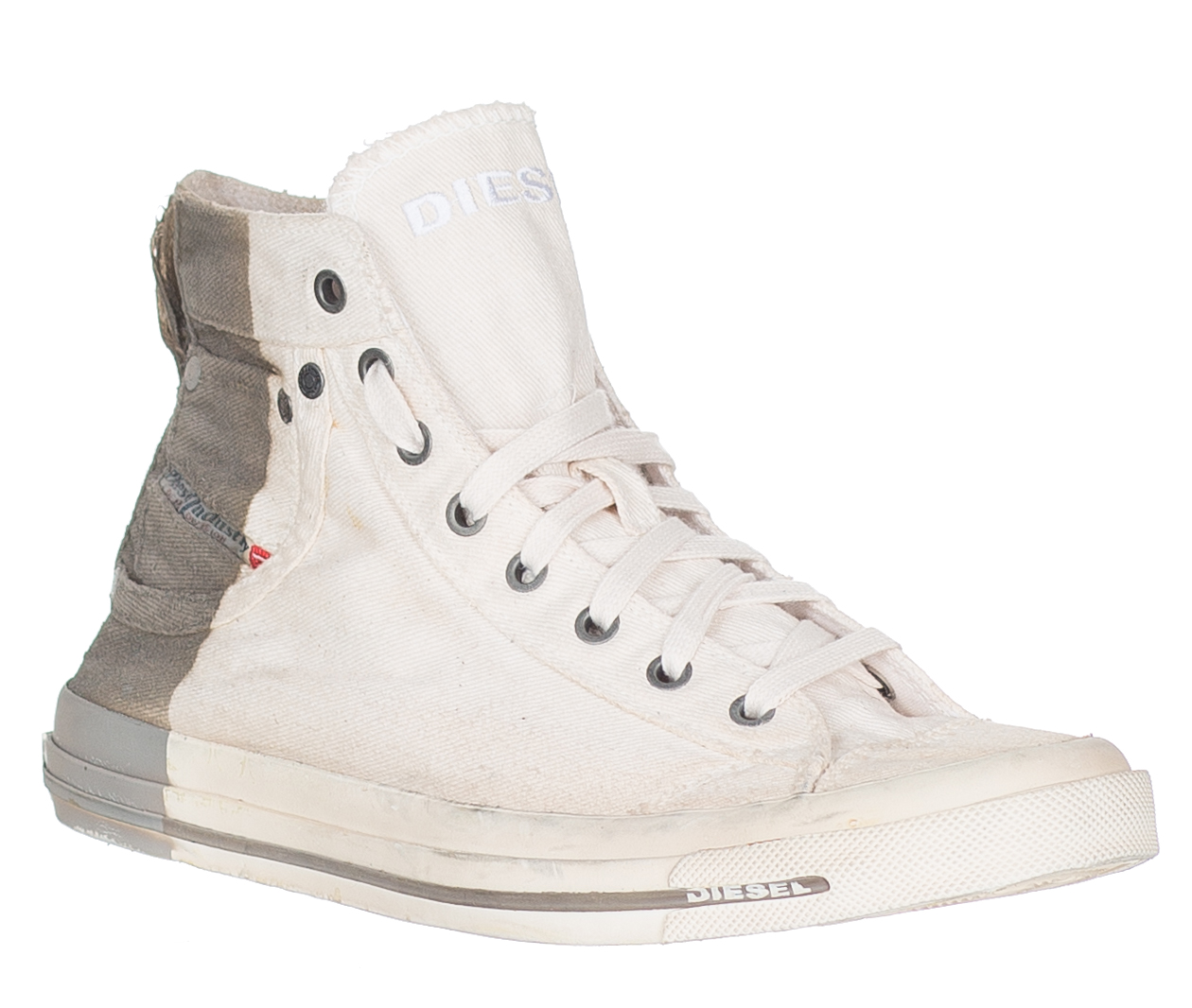 d6a2f93404ab Diesel Men s Off White Gray High Top Denim Exposure Sneakers Shoes