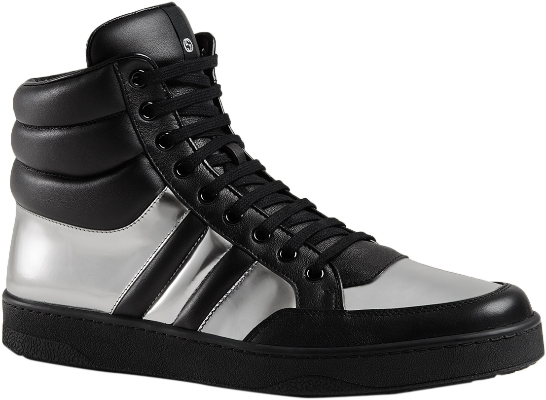 8f9e246e4bb Gucci Men s Black Silver Contrast Padded Leather High Top Sneaker Shoes