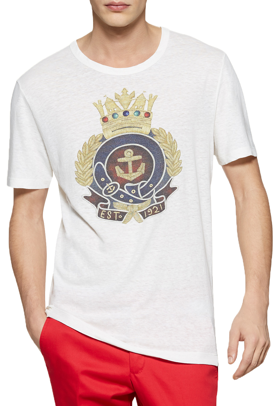 cb108647 Gucci Men's White Washed Cotton Linen Anchor Crest Print Jersey T-Shirt