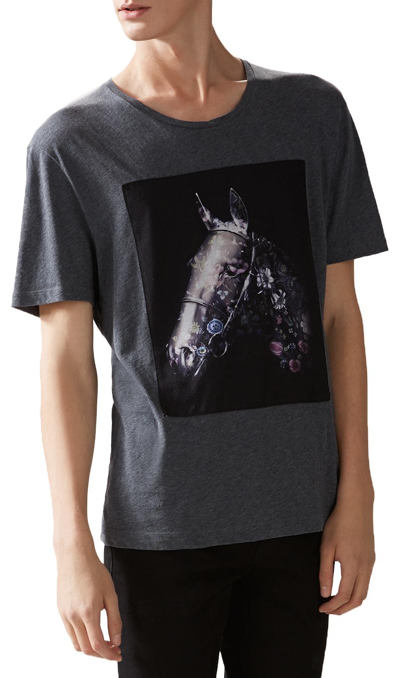 3df1f2d33 Gucci Men's Grey Cotton Flora Horse Print Jersey T-Shirt