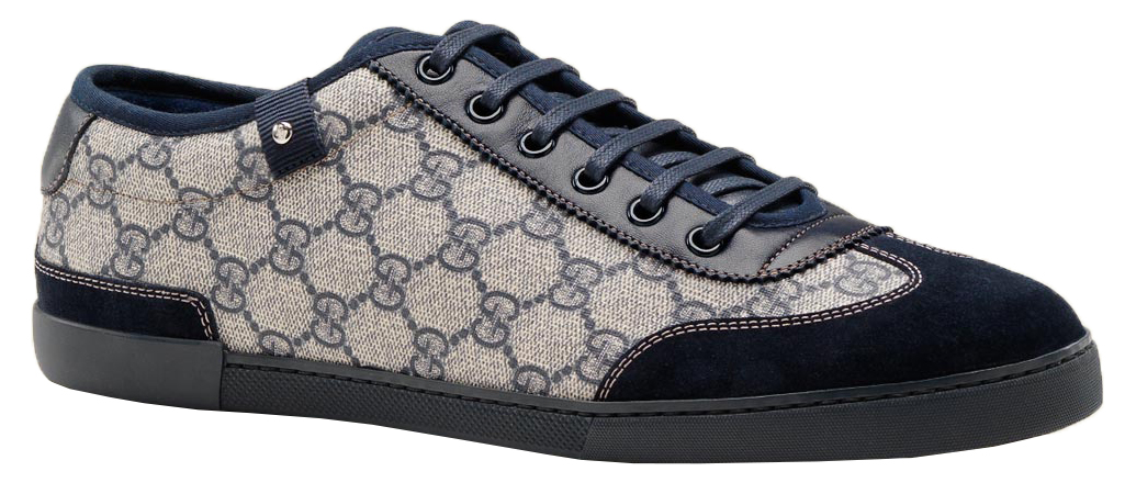 ef55e38b04f Gucci Men s GG Blue Canvas Lace Up Interlocking G Web Detail Trainer  Sneakers Shoes