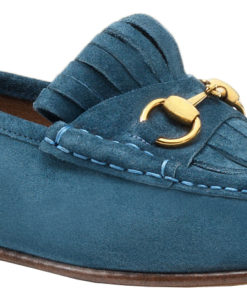 145b60dbc39 Gucci Men s Blue Suede Fringe Horsebit Loafers Shoes