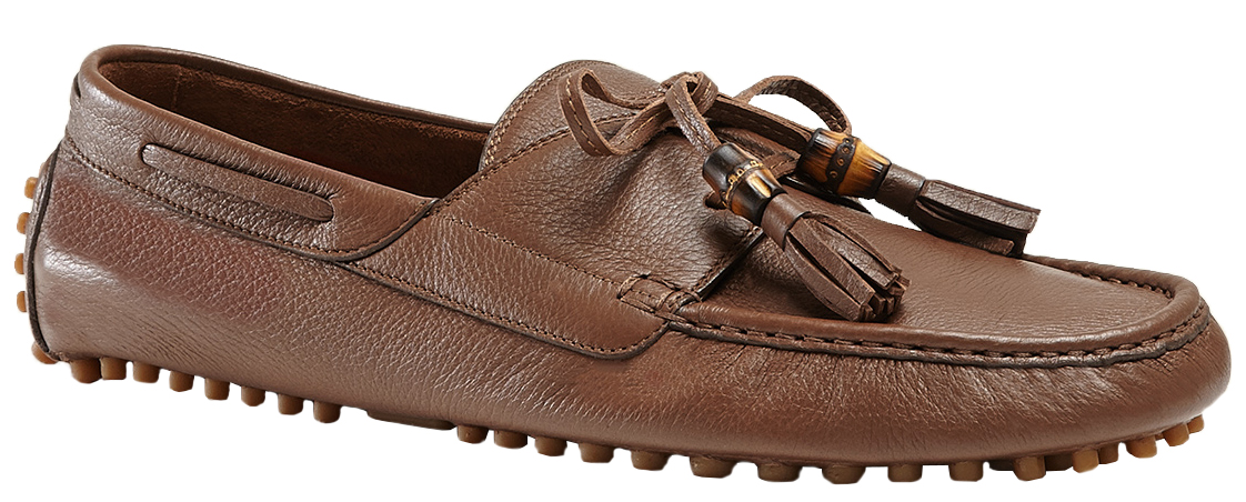 863e20386c Gucci Men's Brown Unlined Leather Lace-Up Tassel Driver Loafers Shoes
