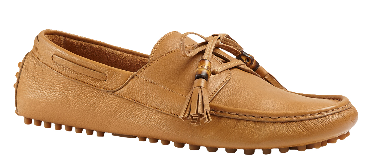 436716a12c Gucci Men's Light Brown Unlined Leather Lace-Up Tassel Driver ...