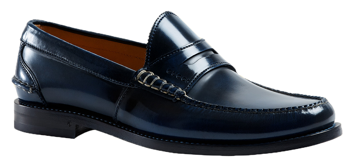 320c6fdbb Gucci Men's Blue Polished Leather Penny Loafers Shoes