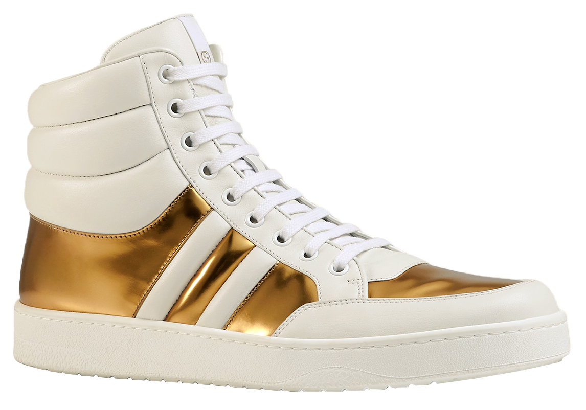 9fd40c591ba34 Gucci Men's White Gold Contrast Padded Leather High Top Sneaker Shoes