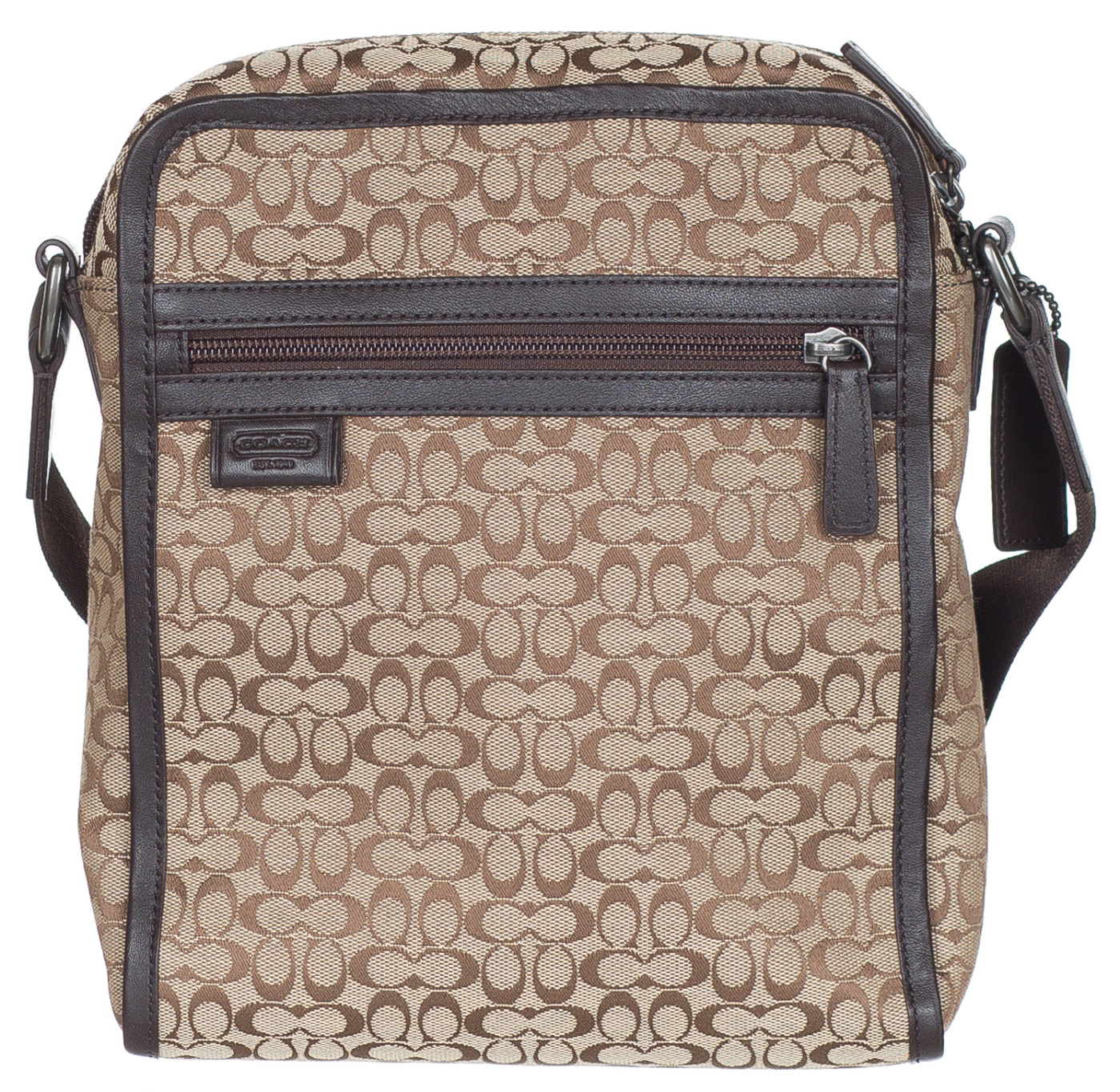 Coach Khaki Brown Jacquard Canvas Leather Messenger Shoulder Flight Bag
