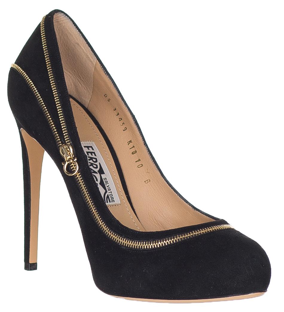 d0f68a7bb243 Salvatore Ferragamo Women s Black Suede Zipper Seaming  Rory  Pumps Heels  Shoes
