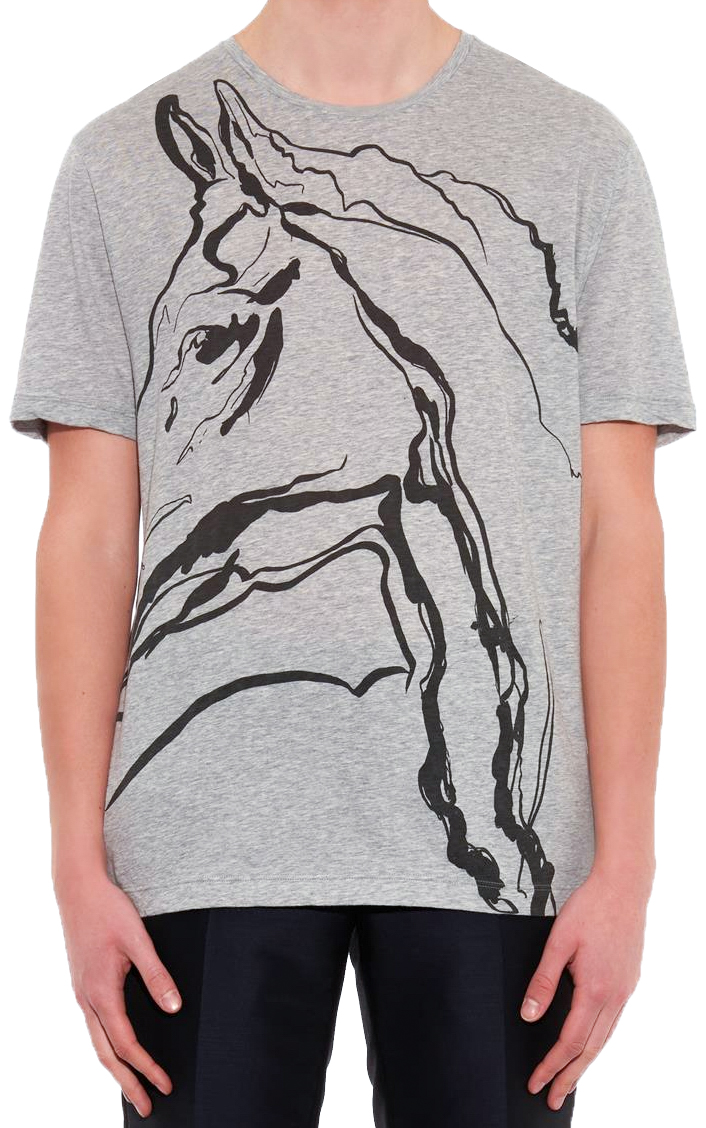 1bd48d09e Gucci Men's Gray Cotton Horse Print Jersey T-Shirt