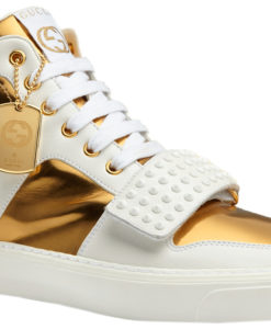 Gucci Men\u0027s White Leather Gold GG High Top Sneakers Shoes