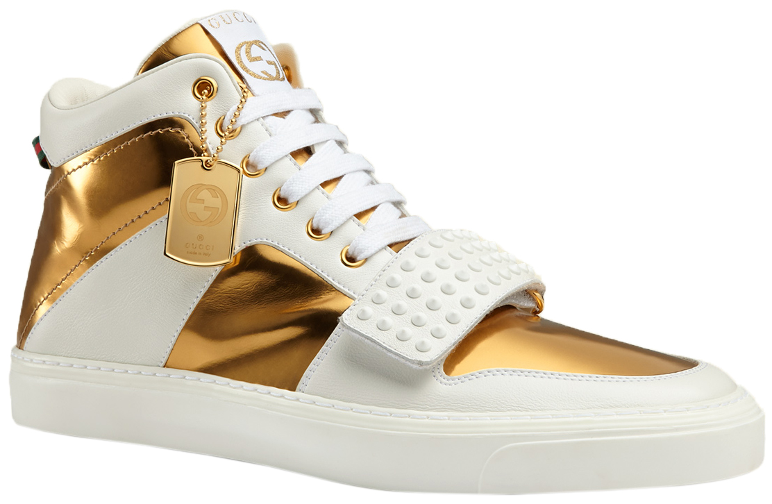 33ec9cbbccde Gucci Men s White Leather Gold GG High Top Sneakers Shoes