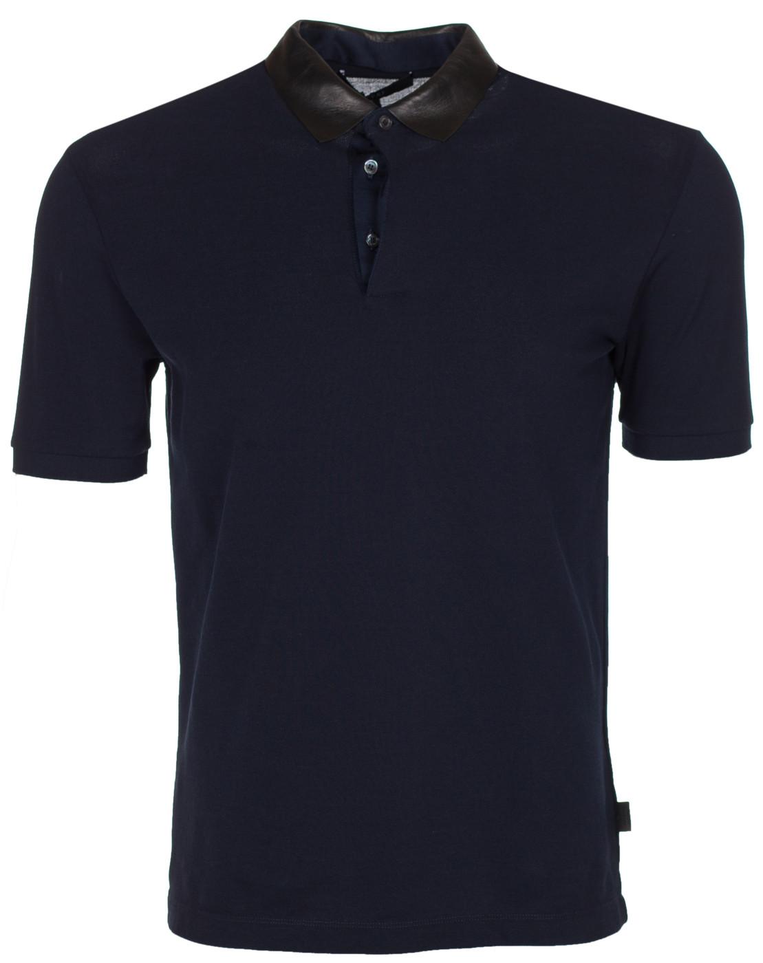 a7ead8d5dd92 Gucci Men s Dark Blue Leather Collar Polo Shirt