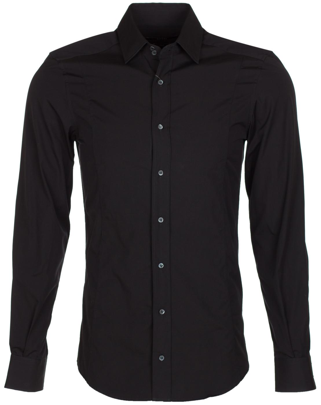 b8db6bd2f43 Gucci Men's Black Cotton Fitted Button Down Dress Shirt