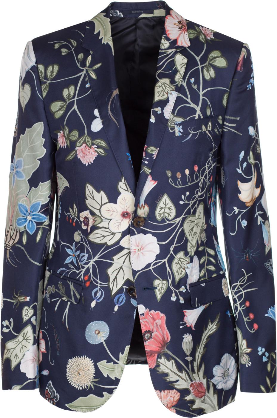 afaa66ff3 Gucci Men's Floral Kris Knight 100% Silk Twill Blazer Sport Coat Jacket