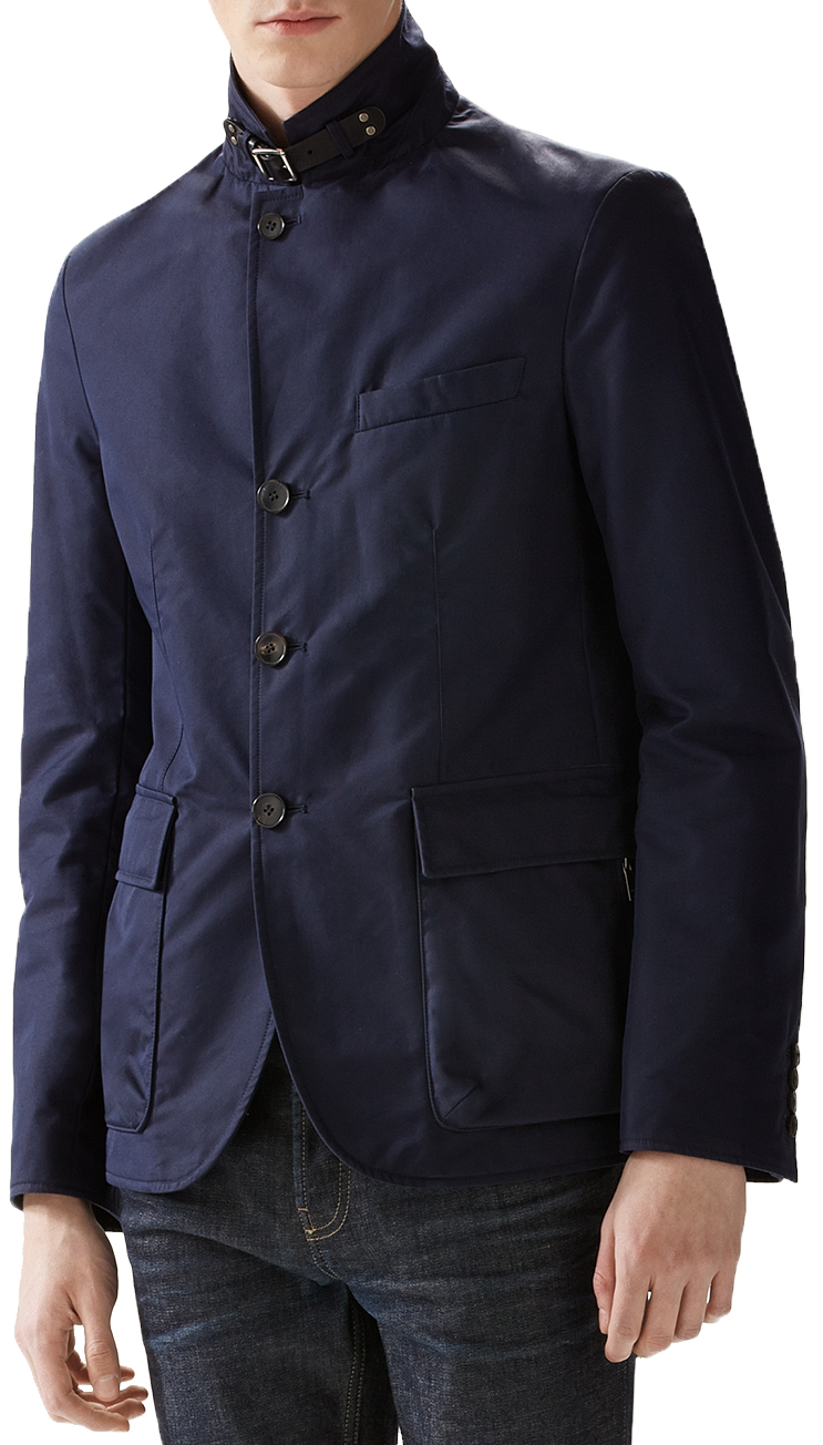 7f29de4e6 Gucci Men's Navy Blue Washed Gabardine Button Zip Blazer Sport Coat Jacket