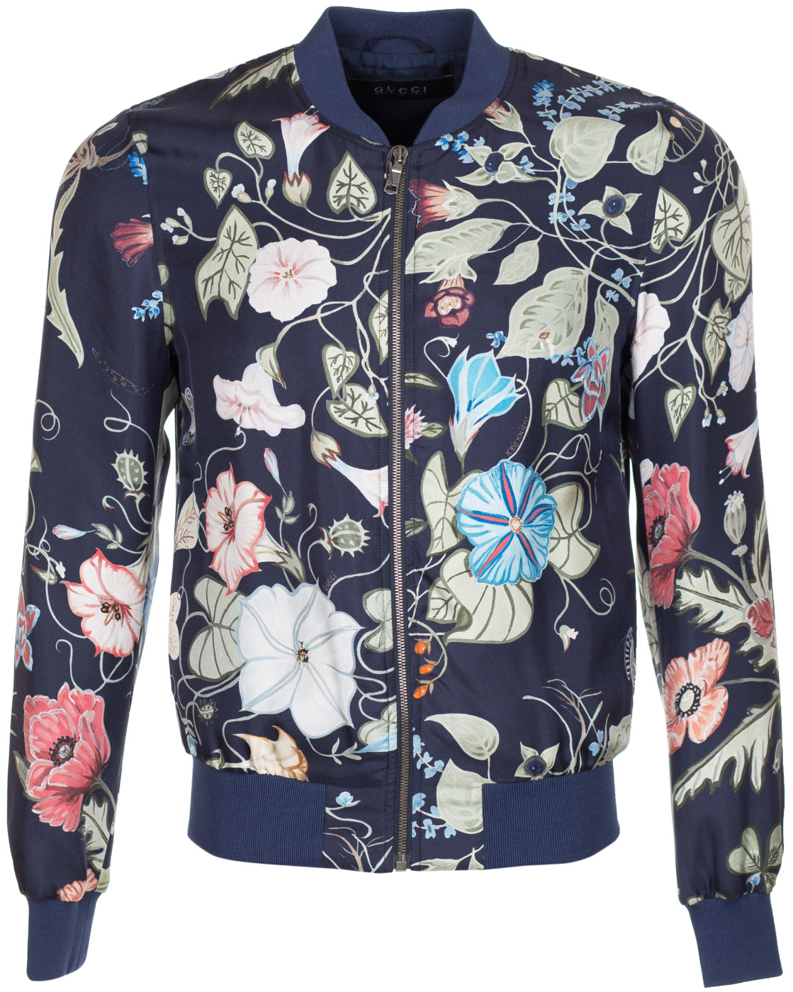 3e4d6d6a1 Gucci Men's Blue Flora Print Kris Knight 100% Silk Twill Bomber Jacket