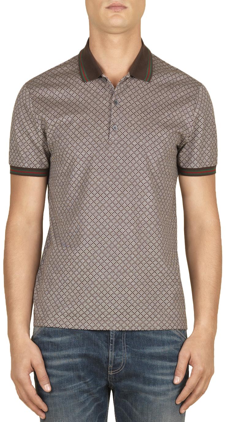 1fdb2cfc072 Gucci Men s Beige Cotton Diamante Print Web Detail Polo Shirt