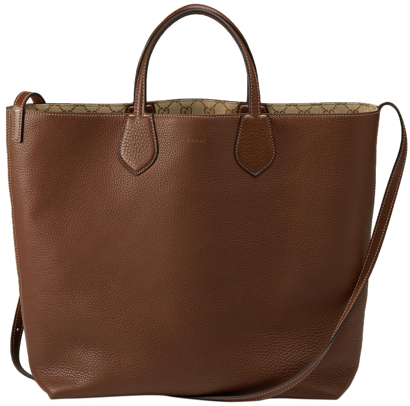4ed0e1b84d3d Gucci Beige Brown Original GG Canvas Leather Ramble Reversible Tote Bag