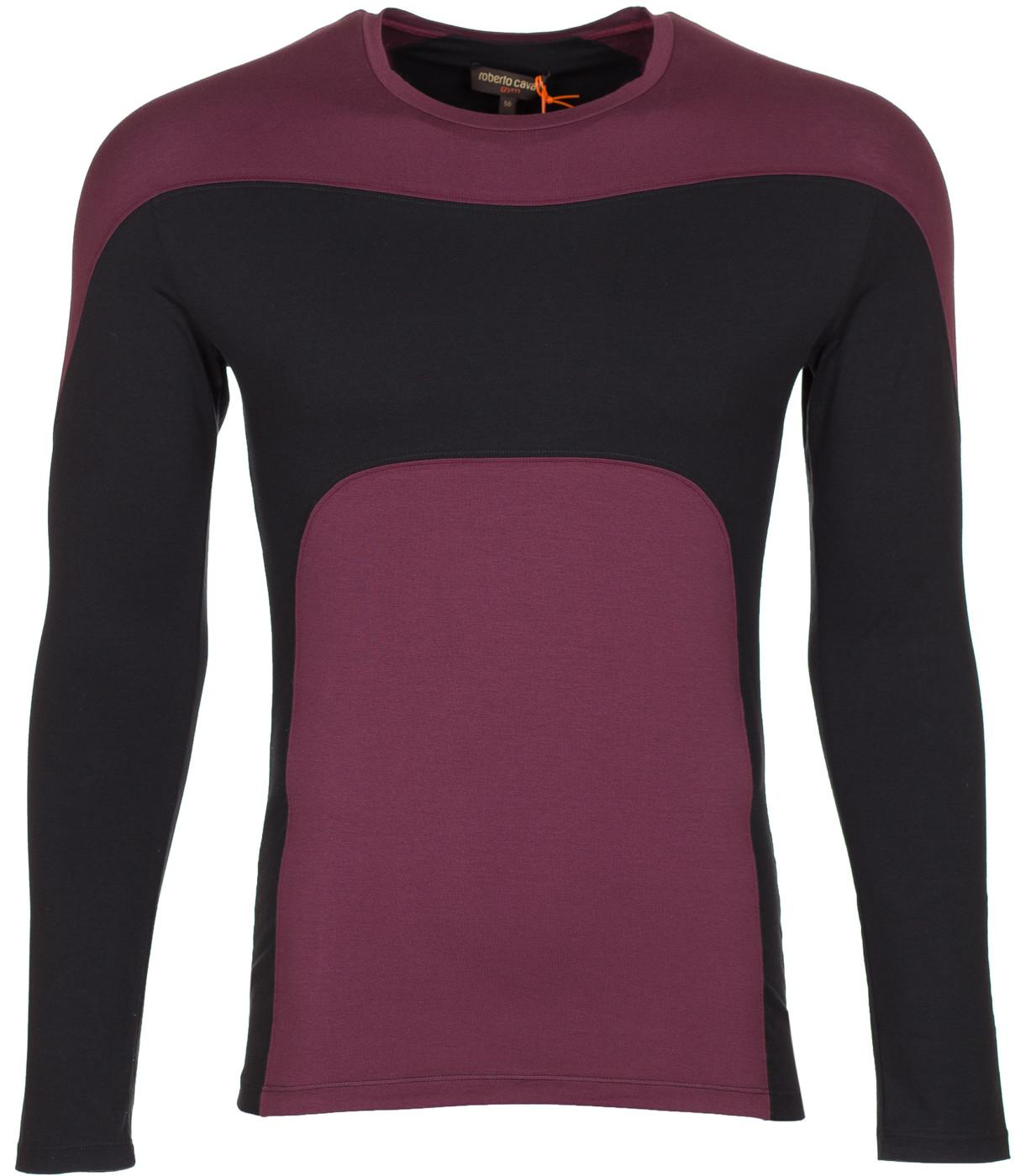 8f37ca297941 Roberto Cavalli Gym Men s Black Red Cotton Crew Neck Long Sleeve T-Shirt