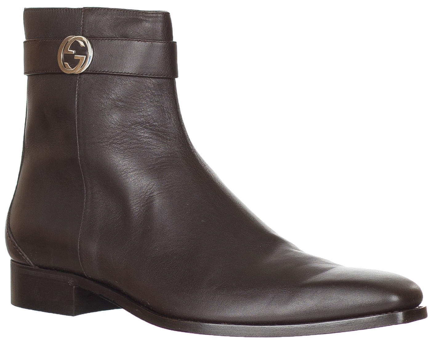 a2a74956e8b Gucci Men s Brown Leather Zip Up GG Logo Chelsea Ankle Boots Shoes